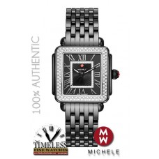 Michele MWW06G000008 Deco Madison Black Ceramic Diamond Women's Watch - Swiss Watch
