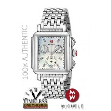 Michele MWW06P000014 Deco Diamond Mother of Pearl Dial Stainless Steel Watch - Swiss Watch