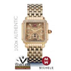 Michele MWW06V000084 Deco 16 Gold-Tone Diamond Bezel and Dial Watch - SWISS Watch
