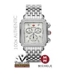 Michele MWW06Z000035 XL Deco Mother of Pearl Diamond Bezel Stainless Watch - Swiss Watch