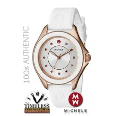 Michele MWW27A000004 Cape Rose Gold Case White Silicone Strap Women's Watch- Swiss Watch