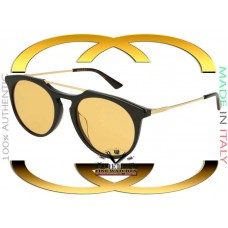 Gucci GG0320S-002 Black Gold Frame Yellow Lenses 53mm Sunglasses