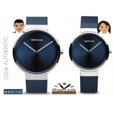 BERING Time Matching Classic Collection Blue Sunray Mesh Band watch - 2 watches