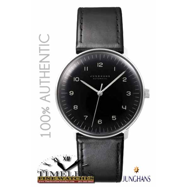 Junghans 027/3400.00 Max Bill 38mm Automatic Black Dial Leather Strap Watch - German Watch
