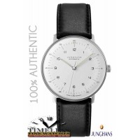 Junghans 027/3500.00 Men's Matte Silver Dial Leather Strap Max Bill 38mm Watch - German Watch