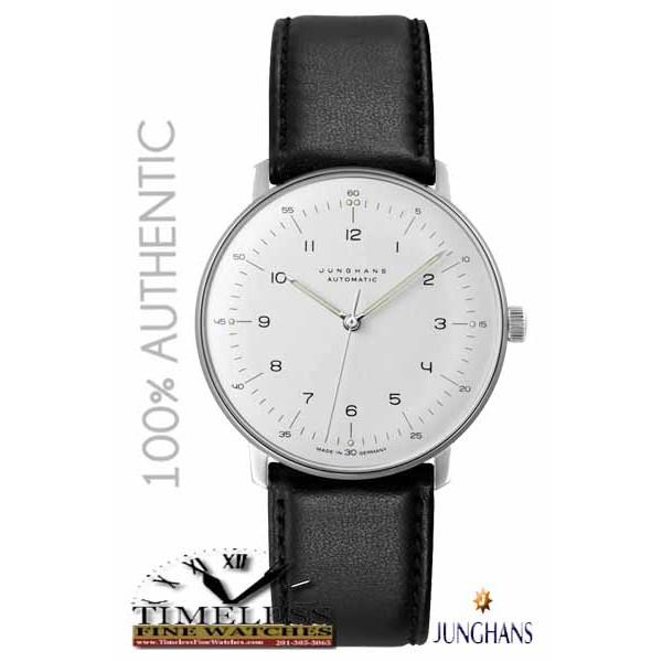 Junghans 027/3500.00 Men's Matte Silver Dial Leather Strap Max Bill 38mm Watch - German Watch