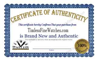 Authentic Certificate from toptimelesswatches.com